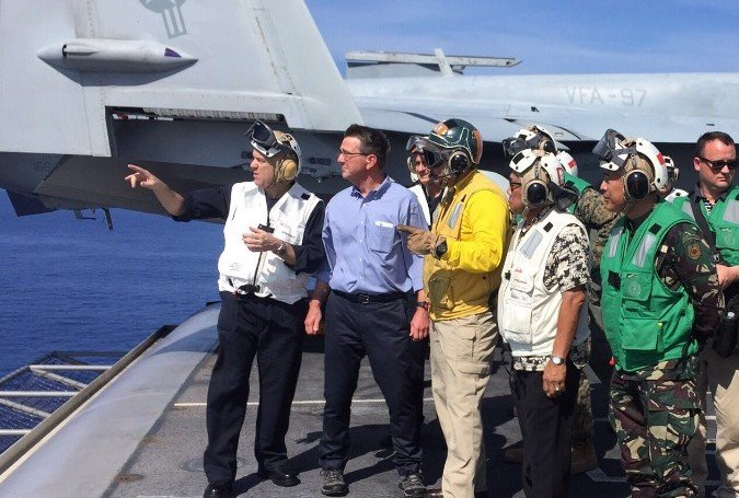 Defense officials of the Philippines and the United States watch the operations at the USS John Stennis. PHOTO FROM THE PHILIPPINE DEPARTMENT OF NATIONAL DEFENSE